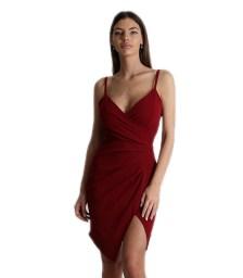 Φόρεμα μίνι τιράντα με κρυφό φερμουάρ (Μπορντό)