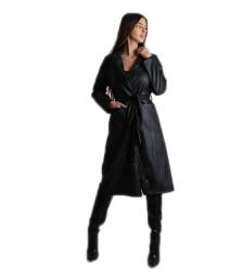 Παλτό δερματίνη με τσέπες και ζώνη (Μαύρο)