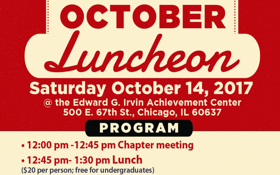 October Chapter Meeting & Luncheon