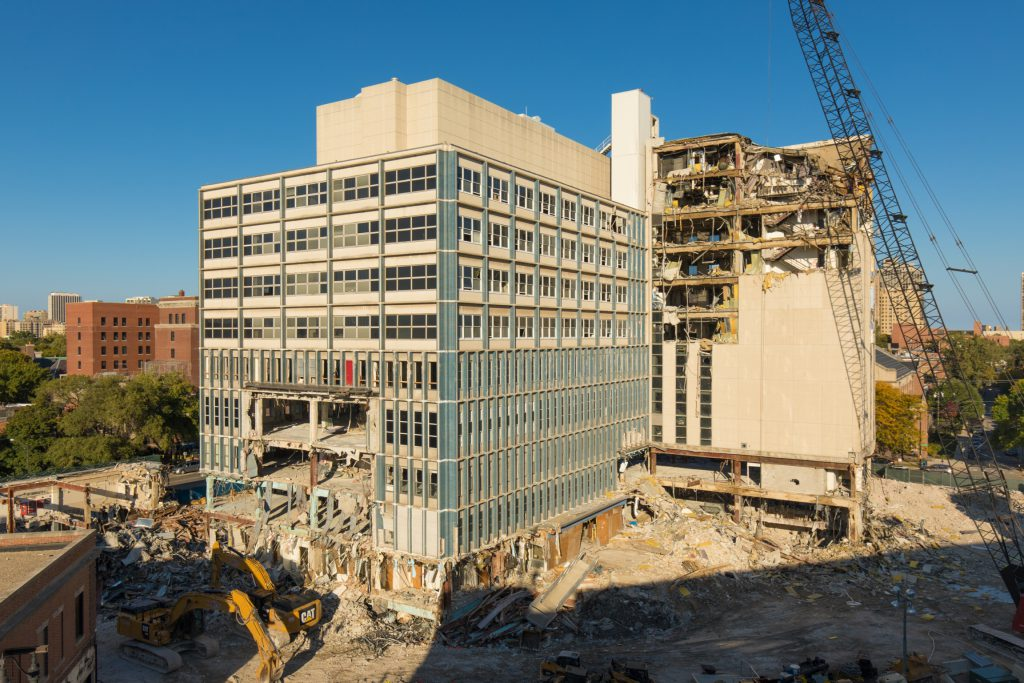 Demolition of the Old Children's Memorial Hospital (Courtesy of Dr. Robert Vogelzang)