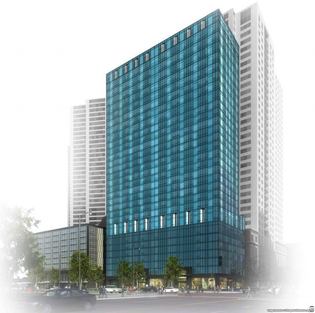 Rendering of 1101 South Wabash.  In the fog.