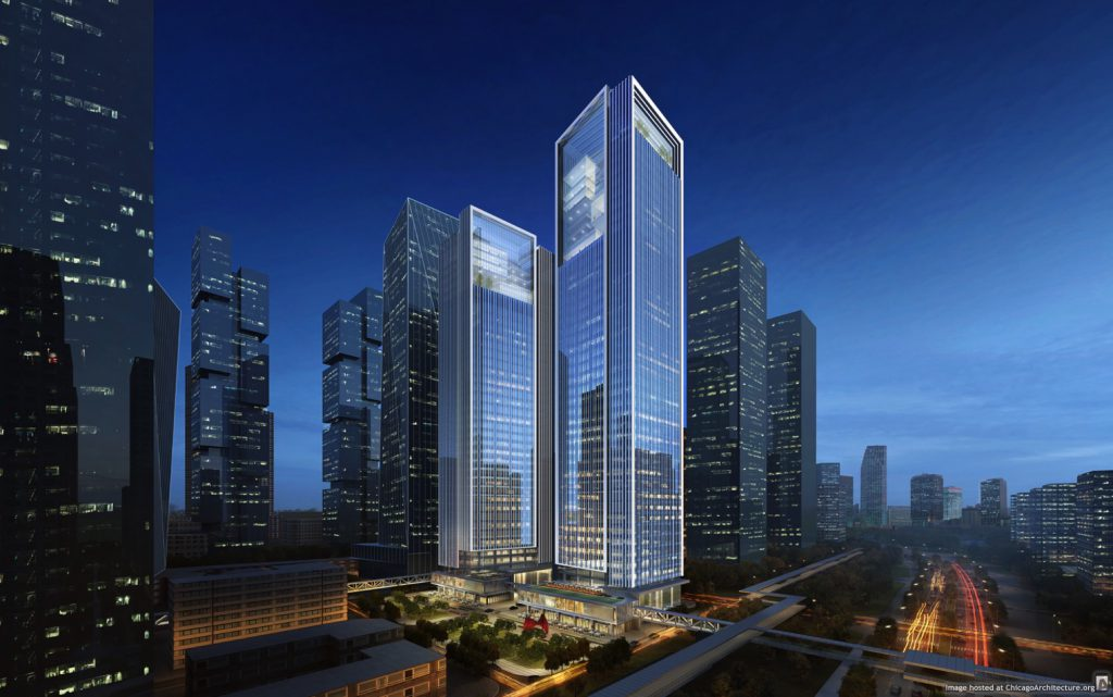 Rendering of the COFCO Qianhai Asia Pacific Headquarters (Courtesy of Goettsch Partners)
