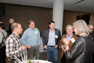 CBC community members (from the left), Eric Weiss (NU), Jonathan Silverstein (Tempus; a founding CBC Scientific Director), Kevin White (UChicago, Tempus), Tom O'Halloran (NU) and Katie Stallcup (CBC Executive Director)