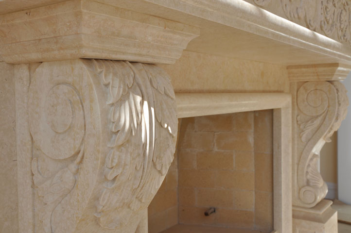 Marble Corbel and Mantel  Fireplaces  Cream Marble  Hand Carved Fireplace