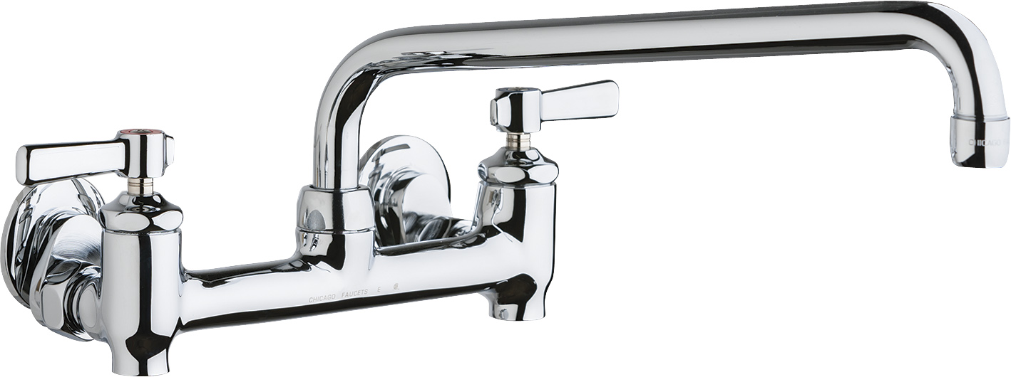 Wall-mounted manual sink faucet with adjustable centers