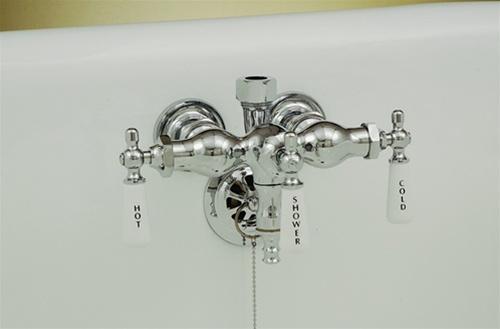 strom plumbing chrome 3 3 8 ctr leg tub faucet w diverter for shower riser or handheld shower set
