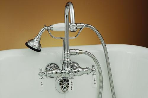 strom plumbing chrome gooseneck faucet 3 3 8 ctr w handheld shower