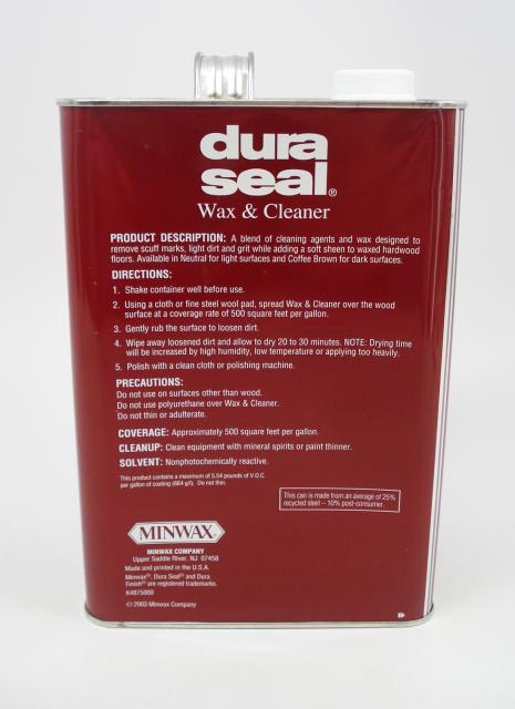 Dura Seal Wax And Cleaner For Wood Flooring Neutral Gallon