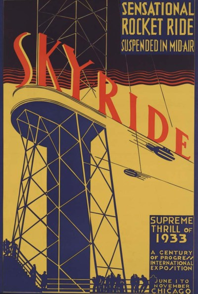 Poster marketing the Skyride attraction.