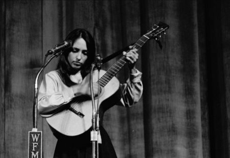 Joan Baez performing, possibly at the second annual University of Chicago Folk Festival, Chicago, Illinois, circa 1962.