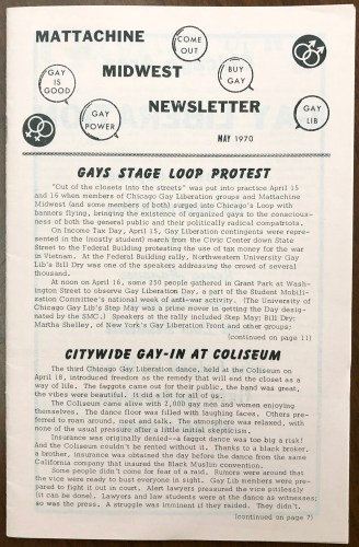 Cover of a Mattachine Midwest newsletter. May 1970.