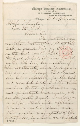 Sanitary Commission letter to Lincoln