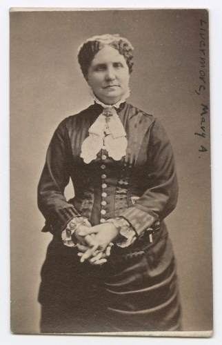 Black and white three-quarters portrait of Mary Livermore