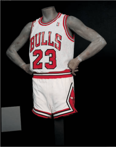 Michael Jordan Bulls uniform jersey and shorts
