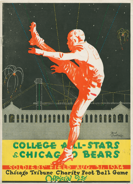 An advertisement for the first College All-Star Football Classic with the College All-Stars vs. Chicago Bears at Soldier Field, Chicago, 1934. CHM, ICHi-036998