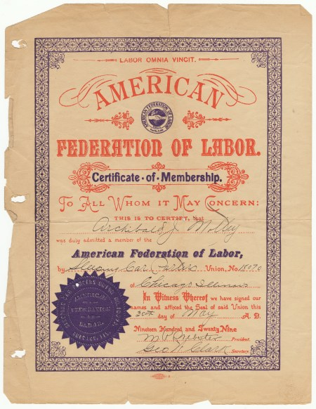 Certificate of membership in the American Federation of Labor through the Sleeping Car Porters for Archibald Motley
