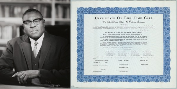 Left image: seated photograph of Joseph H Jackson seated at his desk; right image: Certificate of Life Time Call