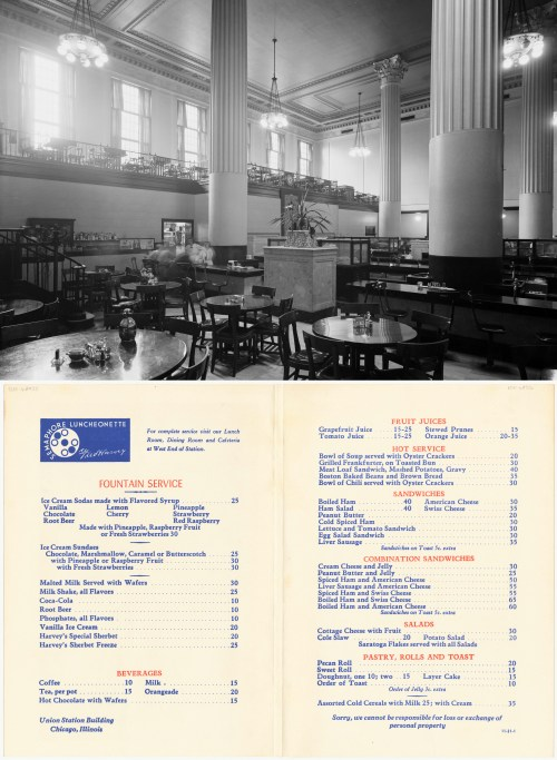 Interior view of the Fred Harvey lunchroom and restaurant at Union Station, Chicago, Illinois, June 29, 1943.