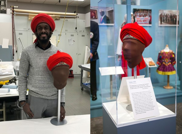 Left: Omar Northern stands in a work room with his finished turban; right: the turban on display in the Museum exhibition