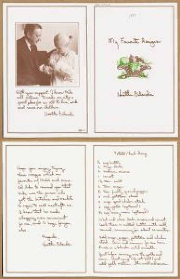 Pamphlet of four pages with a photograph of a couple and a recipe for soup