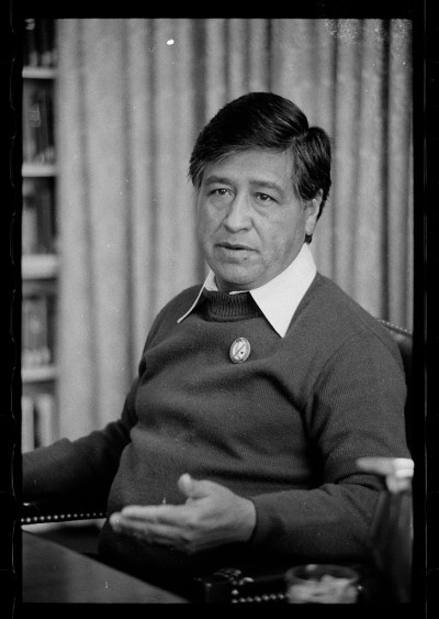 seated portrait of Cesar Chavez