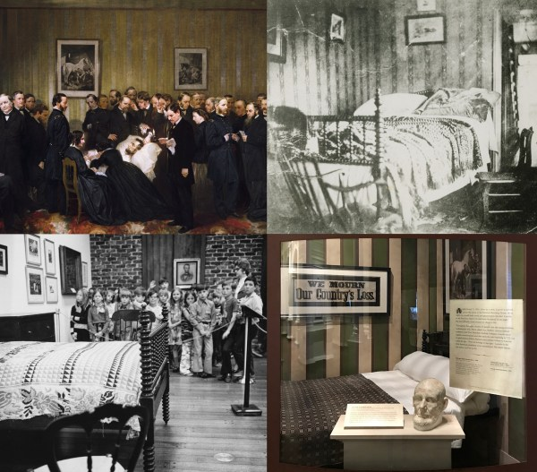 Four image collage: painting of Lincoln in his death bed, black and white photograph of the bed, the bed on display in the Musuem in the 1970s, and the current display