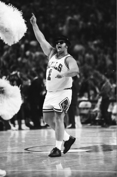 Blues Brother in a Bulls uniform entertains the crowd during a timeout