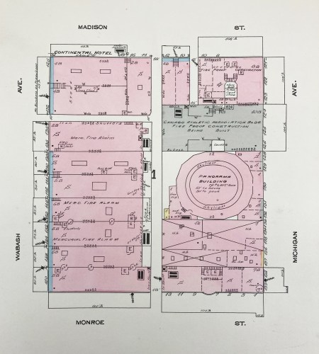 Fire insurance block map from 1893 that shows site of the Fire Cyclorama building, listed as Panorama Building