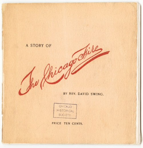 View of a pamphlet titled A Story of the Chicago Fire