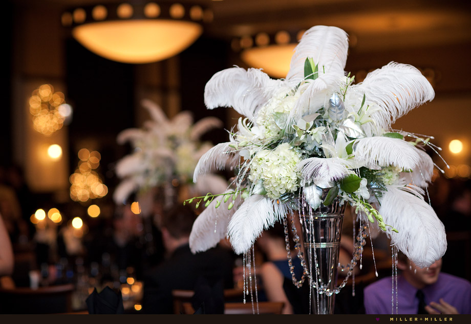 Feathers Centerpieces, New Years Wedding Centerpieces