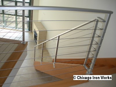 Modern Cable Railing Chicago Iron Works | Modern Cable Stair Railing | Stainless Steel Stair | Railing Systems | Glass Railing | Entry Foyer | Staircase Remodel