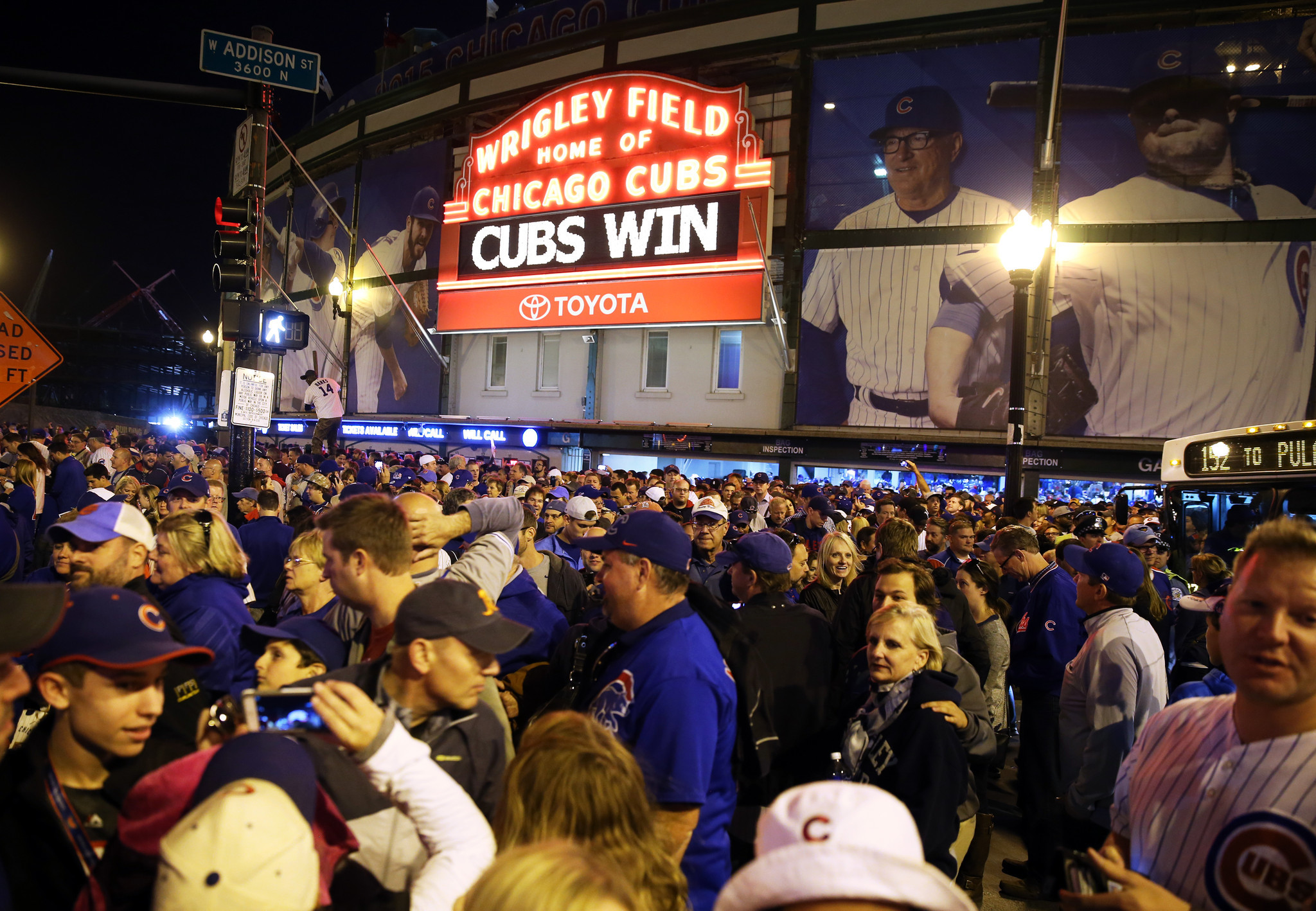 Image result for wrigley field cubs win