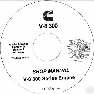 Cummins diesel v-8 300 engine service repair manual cd