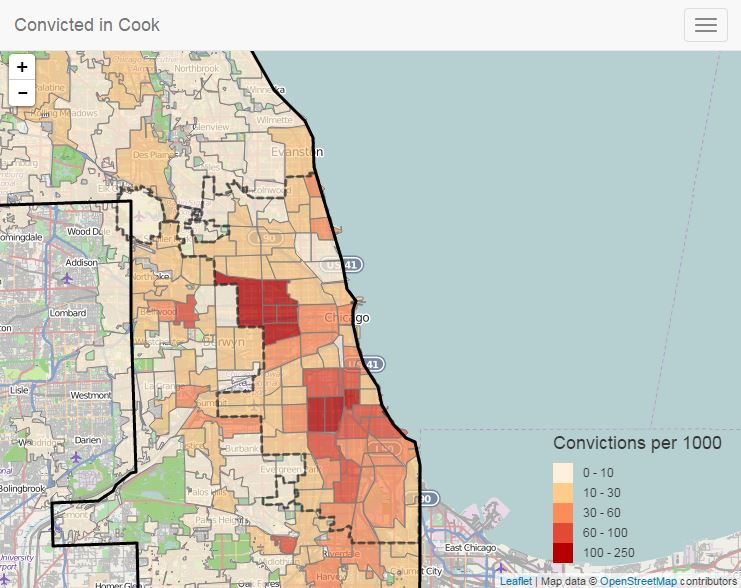 map of criminal convictions in Chicago