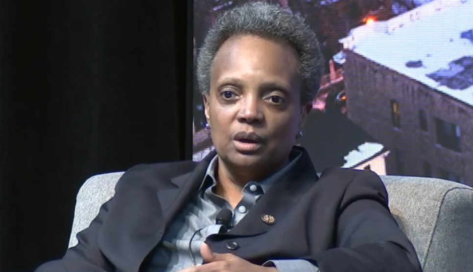 Chicago Mayor Lori Lightfoot speaks at the Solutions Toward Ending Poverty Summit in Chicago Feb. 20, 2020.