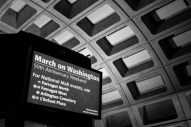 A sign inside a Washington metro station offers information during the March on Washington commemoration weekend. Photo by Sophia Nahli Allison.