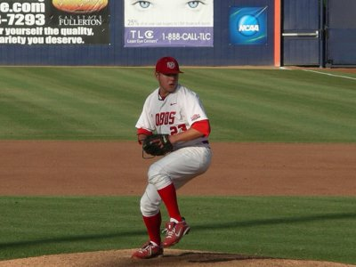 Edwin Carl pitches in the regional round of the 2010 College World Series held at California State University, Fullerton.