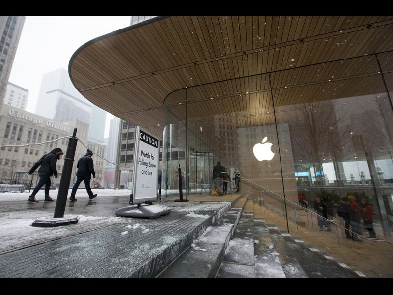 dangling icicles at apple