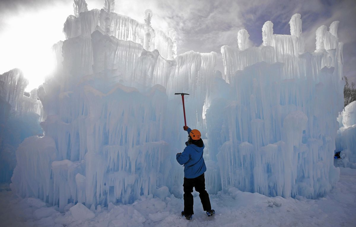 ice castle shaping up
