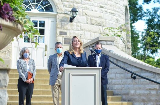 State Rep. Deanne Mazzochi talks about legislation she has proposed to give local governments control of the installation of 5G wireless equipment in their towns. With her are Western Springs Village President Alice Gallagher (left), Clarendon Hills Village President Len Austin (center) and Hinsdale Village Trustee Luke Stifflear.