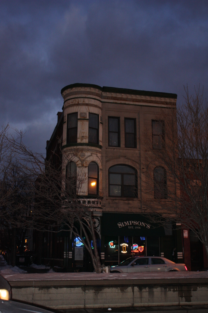 J. Danziger Building, now Simpson's at 1133 S Western Ave, a Queen Anne meets Medieval in a mixed use greystone from the 1890s.