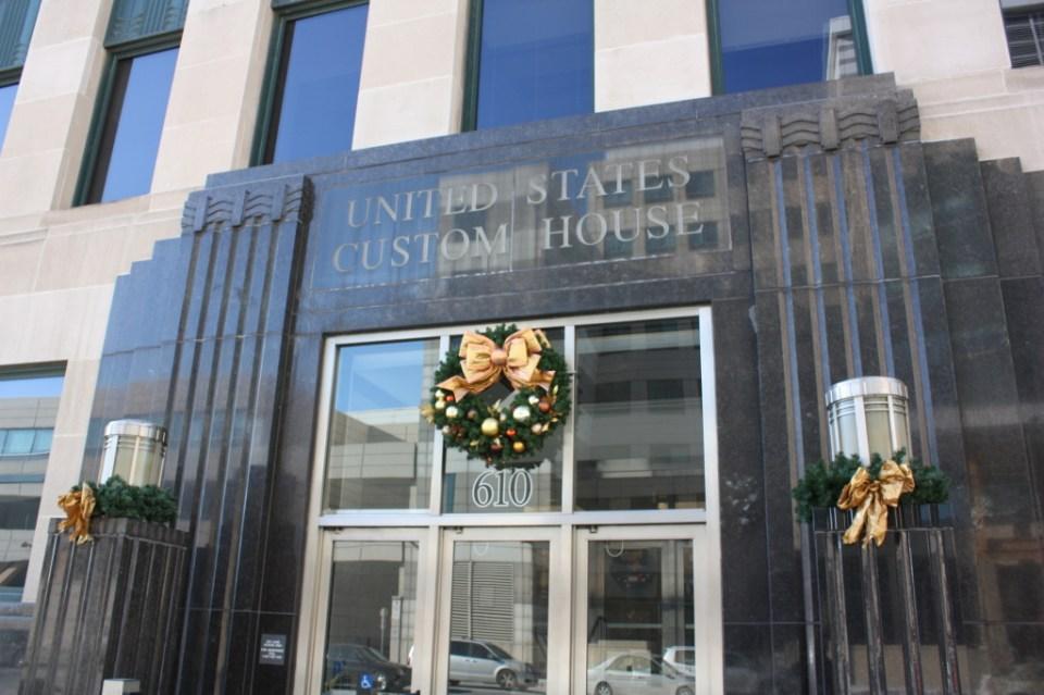 Entrance to the 1930s Art Deco U.S. Custom House