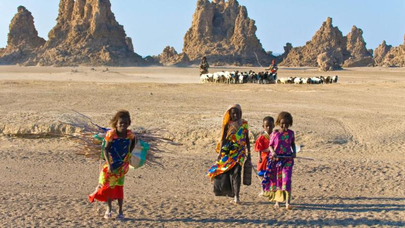 Local Afar children with their sheep, Lac Abbe (Lake Abhe Bad) with its chimneys, Republic of Djibouti, Africa