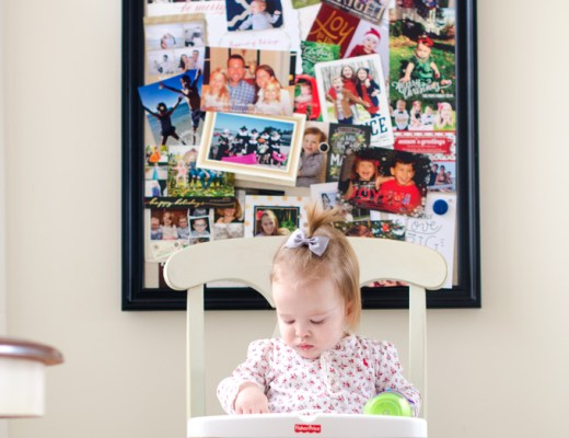 A magnetic bulletin board holds all of our holiday cards. I love it so much I might keep it up all year! | www.chicandsugar.com
