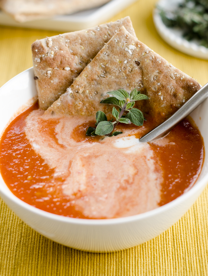Easy Tomato Soup Topped With Coconut Milk Cream | www.chicandsugar.com