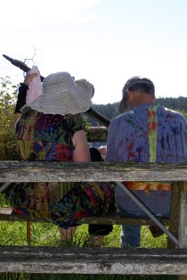 Annie and Randy Waugh at picnic table with Hayden shirt art 2011