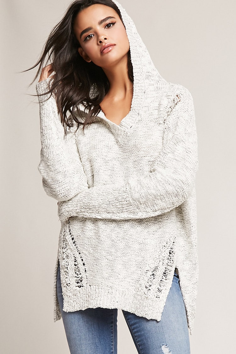 Forever 21 Distressed Hooded Sweater