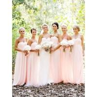 Elegant Sweetheart Long Pink Chiffon Bridesmaid Dress Uk ...