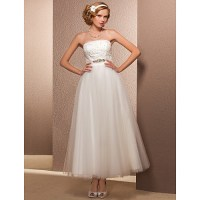 A-line/Princess Plus Sizes Wedding Dress - Ivory Ankle ...
