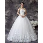 White Floor Length Strapless Ball Gown Wedding Dress